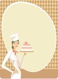 cakeholdingkvinna Royaltyfria Foton
