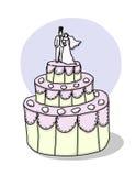 cakeillustrationbröllop Royaltyfri Bild