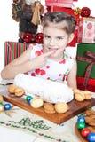 cakejul som little äter flickan Royaltyfri Bild