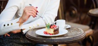 Cakeplak op witte plaat Cake met room heerlijk dessert eetlustconcept De kop van de dessertcake van koffie en wijfje stock afbeelding