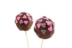 2 cakepops шоколада с украшением сердец Стоковое Изображение RF