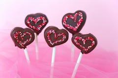 Cakepops en forme de coeur Photos libres de droits