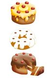 Cakes. Three delicious cakes whit different cream and decoration Stock Images