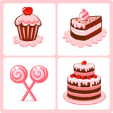 Cakes. Collection of sweets and cakes Royalty Free Stock Photo