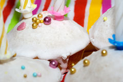 Cakes. Covered with icing sugar and nonpareil Royalty Free Stock Photo