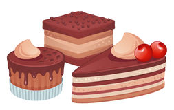 Cakes. Various cakes  on a white background Stock Image