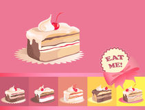 Cakes. Decorative background with peace of cake Stock Image