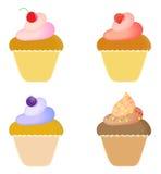 Cakes. Set of four cakes isolated on white Royalty Free Stock Photo