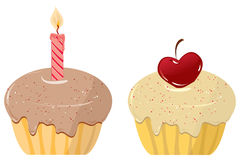Cakes. Two cakes on a white background. Vector illustration Royalty Free Stock Images
