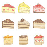 Cakes. The pieces of different cakes Stock Photography