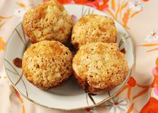 Cakes. Mini cakes with apples, oatmeal and cinnamon Stock Images