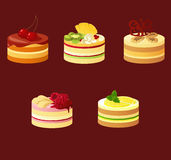 Cakes. Design elements – five kinds of biscuit cakes. Illustration does not contain transparency and blending modes. Each object on own layer vector illustration