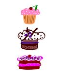 Cakes. Vector cakes for anniversary or birthday. editable stock illustration