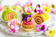 Cakes for afternoon tea. Assorted cakes and pastries for afternoon tea Royalty Free Stock Image