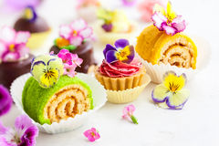 Cakes for afternoon tea. Assorted cakes and pastries for afternoon tea. soft focus Royalty Free Stock Image