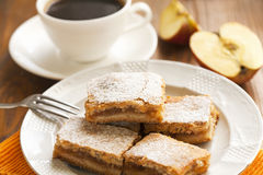cakes with apples and coffee for the breakfast Royalty Free Stock Images