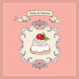 Cakes Background. Bakery Label. Sweets and Dessert Royalty Free Stock Images