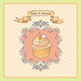 Cakes Background. Bakery Label. Sweets and Dessert Stock Photography