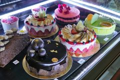 Cakes at a bakery in Menton. In South France in Europe Stock Photo