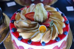 Cakes at a bakery in Menton. In South France in Europe Stock Photos