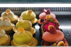 Cakes at a bakery in Menton. In South France in Europe Stock Images