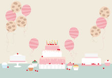 Cakes and balloons Stock Photography