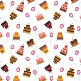 Cakes and balloons vector seamless pattern. Sweet cream pie with candles on white background. Vector illustration vector illustration
