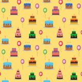 Cakes and balloons vector seamless pattern. Sweet cream pie with candles on white background. Vector illustration stock illustration