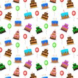 Cakes and balloons vector seamless pattern. Sweet cream pie with candles on white background. Vector illustration. Birthday or party background Royalty Free Stock Photography