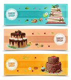 Cakes Banners Set. Cakes horizontal banners set with bakery symbols cartoon  vector illustration Stock Photography
