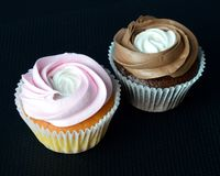 Cakes `Compliment` - pink and chocolate royalty free stock images