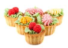 Cakes basket with cream Stock Photos