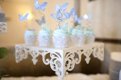 Cakes on a beautiful table in light colors. Stock Photography