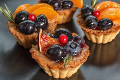 Cakes with berries and fruits Royalty Free Stock Photo