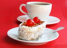 Cakes with biscuit, butter cream and coconut Royalty Free Stock Photography