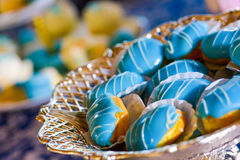 Cakes with blue marzipan Royalty Free Stock Photo