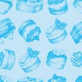 Cakes blue seamless pattern Stock Photos
