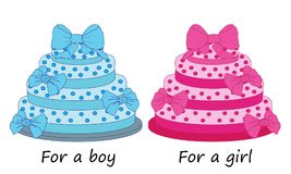 Cakes for a boy and a girl birthday. Vector illustration Stock Photo