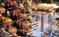 Cakes at buffet stock photos