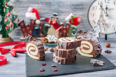Cakes Bush DE Noel Christmas Log Royalty-vrije Stock Afbeeldingen