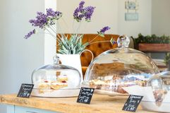 Cakes in a cafe. Cakes for sale in the summer Stock Photography