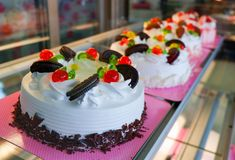 Cakes in a cake shop. Cakes in a cake and Bakery shop - Cake shop with a variety of cakes on display stock photography
