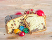 Cakes called Pasca made with cheese and raisins, Cozonac with sm Stock Images