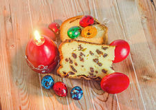 Cakes called Pasca made with cheese and raisins, traditional col Stock Photos