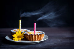 Cakes with candles Royalty Free Stock Images