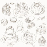 Cakes, candy and sweets royalty free illustration