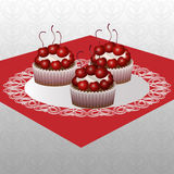 Cakes with cherries Royalty Free Stock Photography