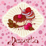 Cakes with cherries and strawberries color drawing card Stock Photo