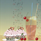 Cakes, cherry and glass Royalty Free Stock Image