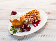 Cakes with cherry Royalty Free Stock Photo